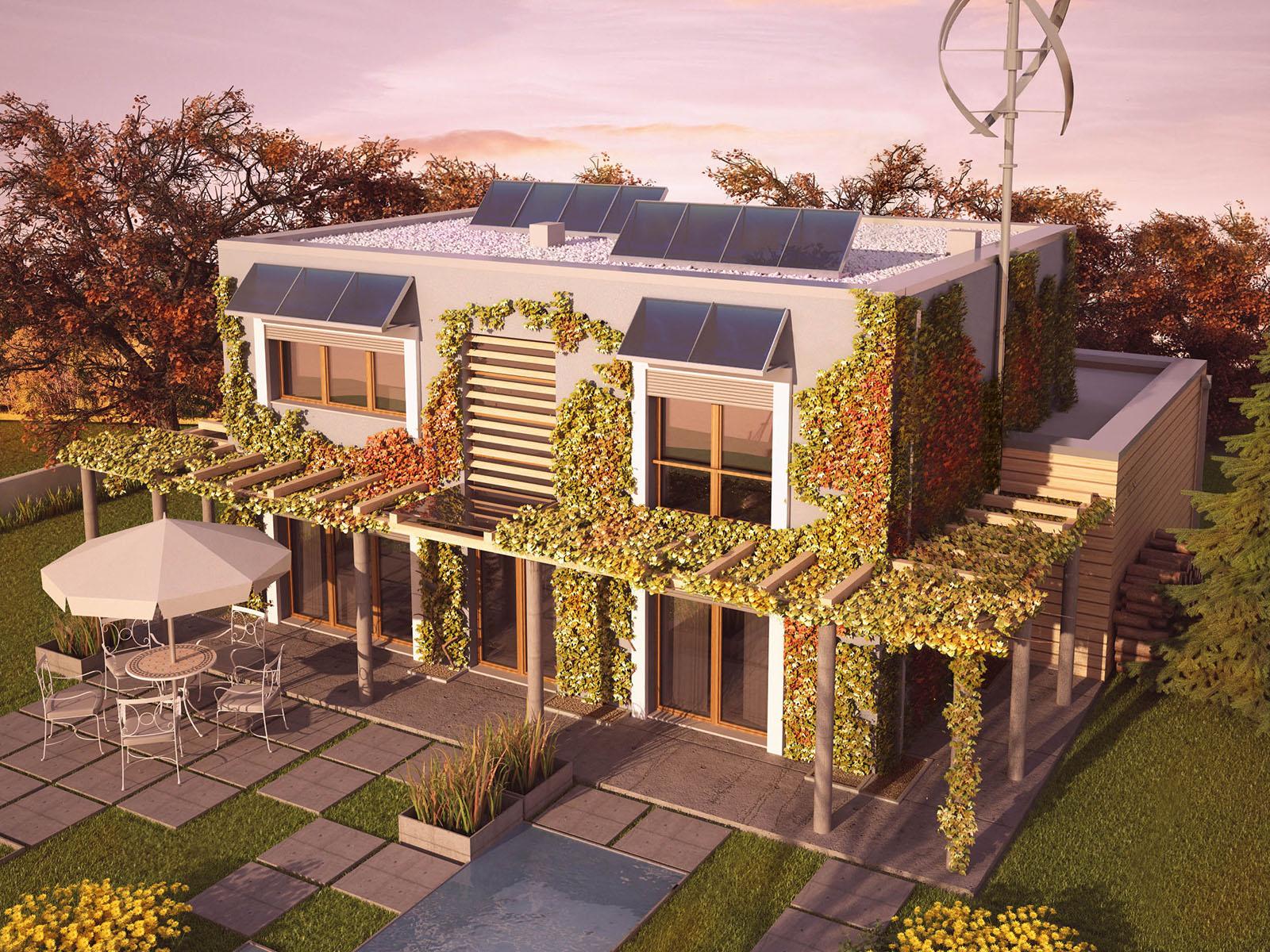 Projekt domu ZIELONY Domy Czystej Energii widok od ogrodu