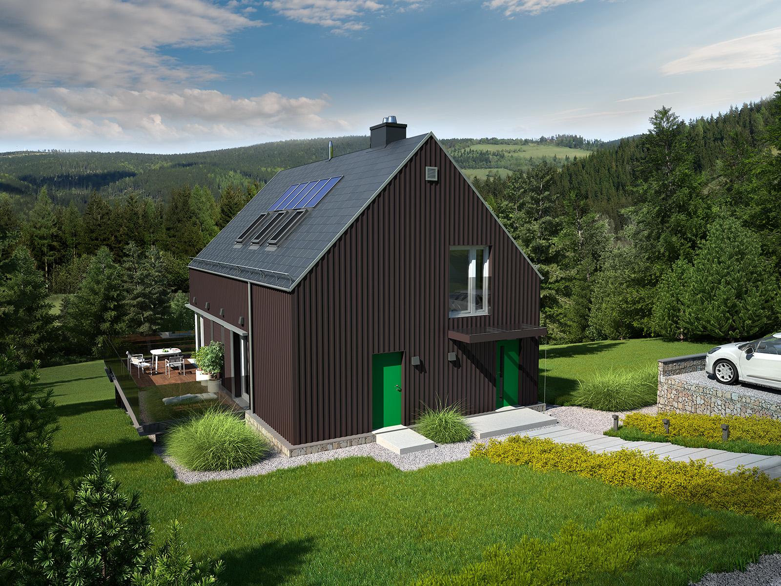 Projekt domu WIDOKOWY Domy Czystej Energii widok od frontu
