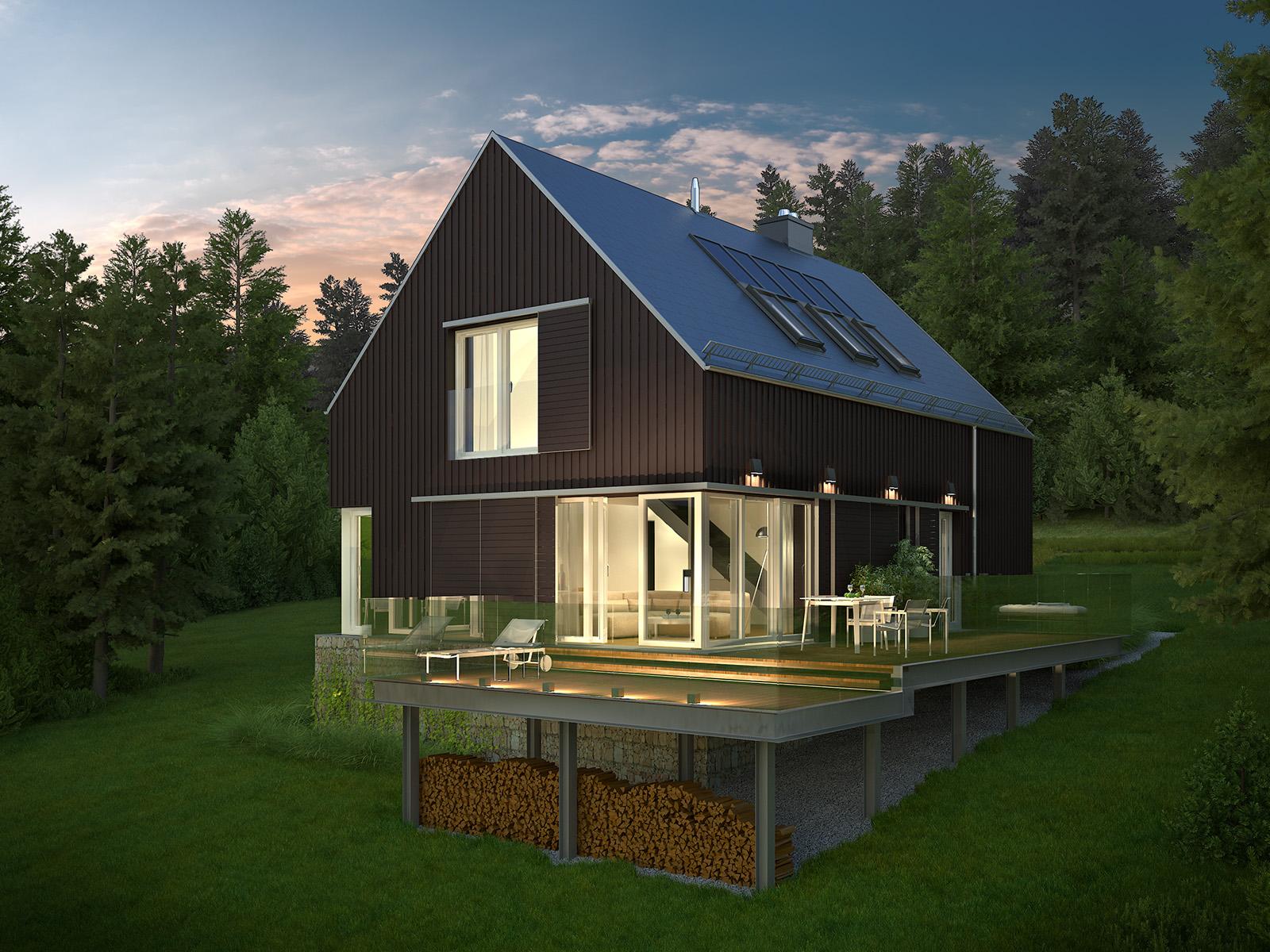 Projekt domu WIDOKOWY Domy Czystej Energii widok od ogrodu