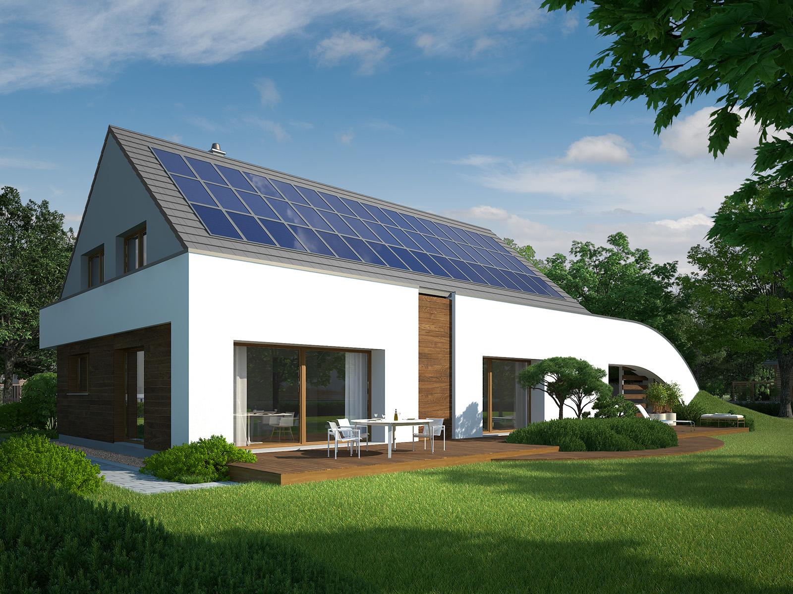 Projekt domu MAJA Domy Czystej Energii widok od ogrodu