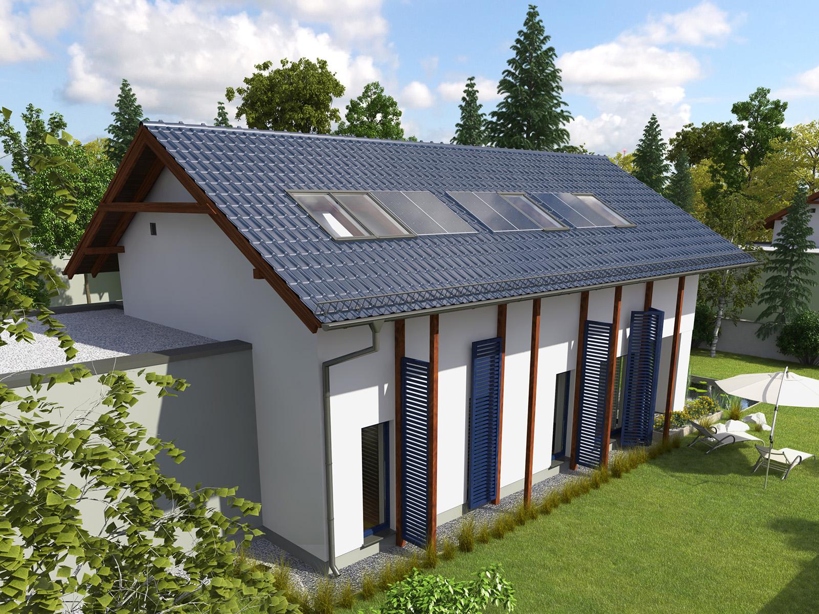 Projekt domu NIEBIESKI Domy Czystej Energii widok od ogrodu