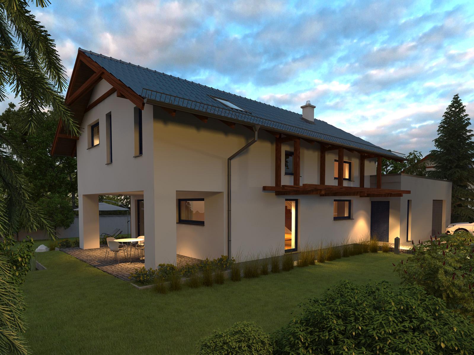 Projekt domu NIEBIESKI Domy Czystej Energii widok od frontu