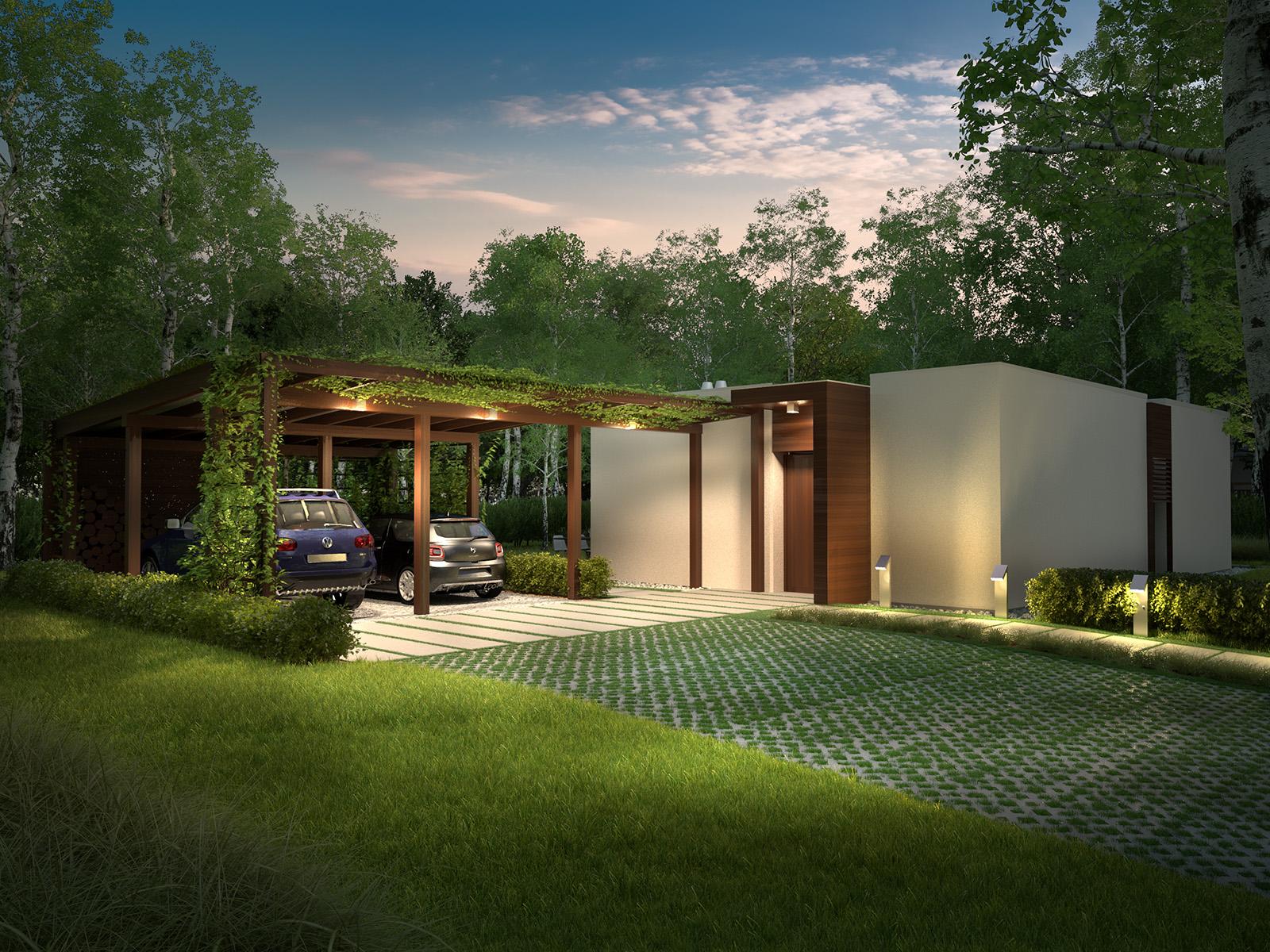 Projekt domu NOWOCZESNY Domy Czystej Energii widok od frontu