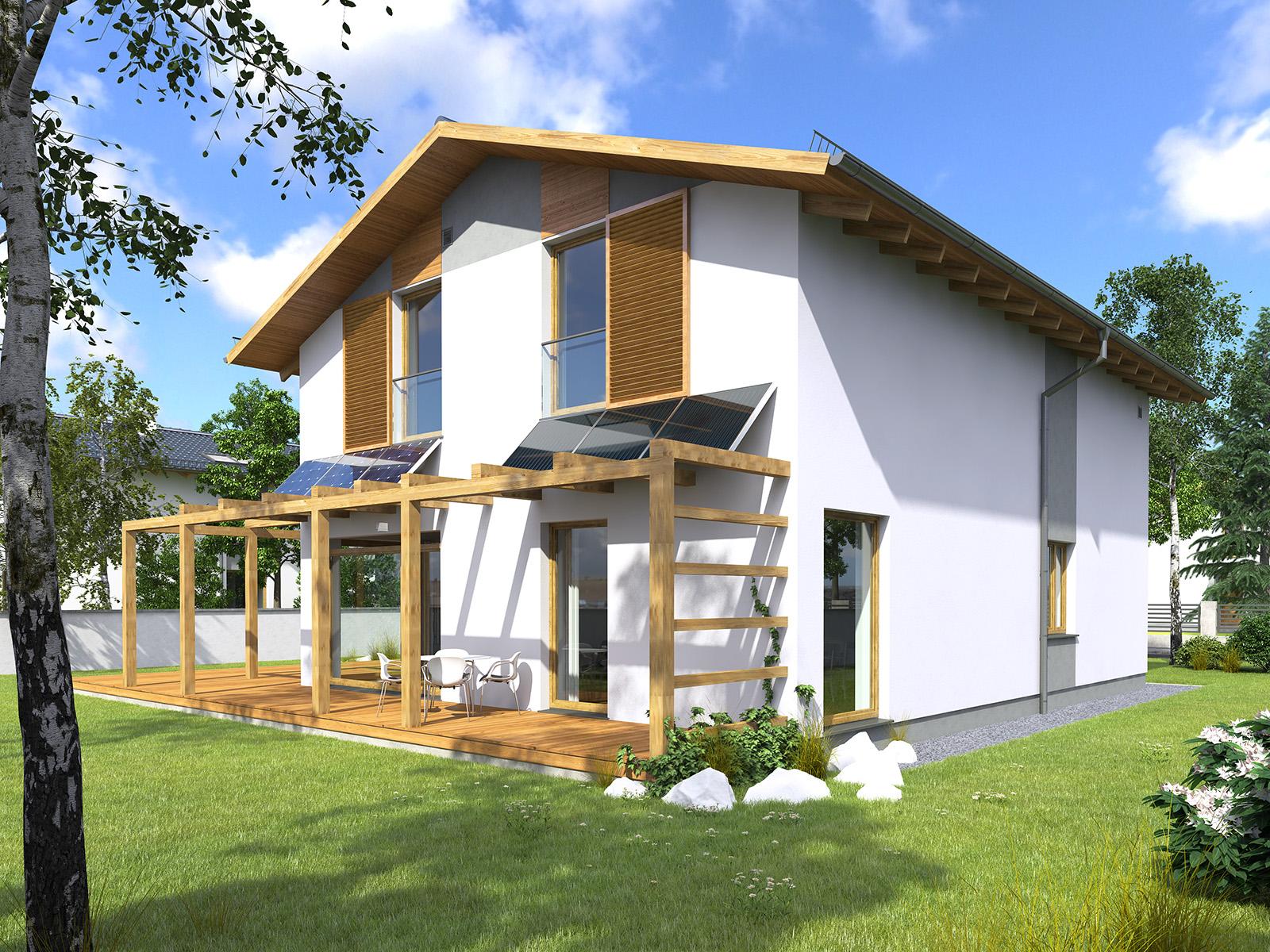 Projekt domu PROSTY Domy Czystej Energii widok od ogrodu