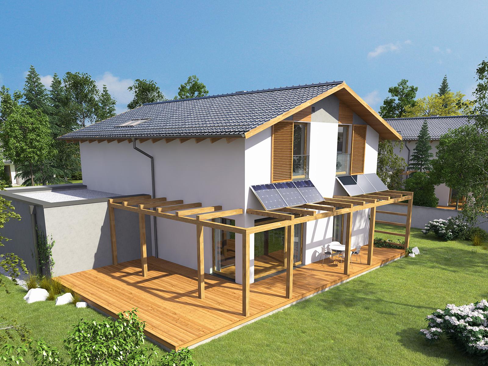 Projekt domu PROSTY Domy Czystej Energii widok od ogrodu i od boku