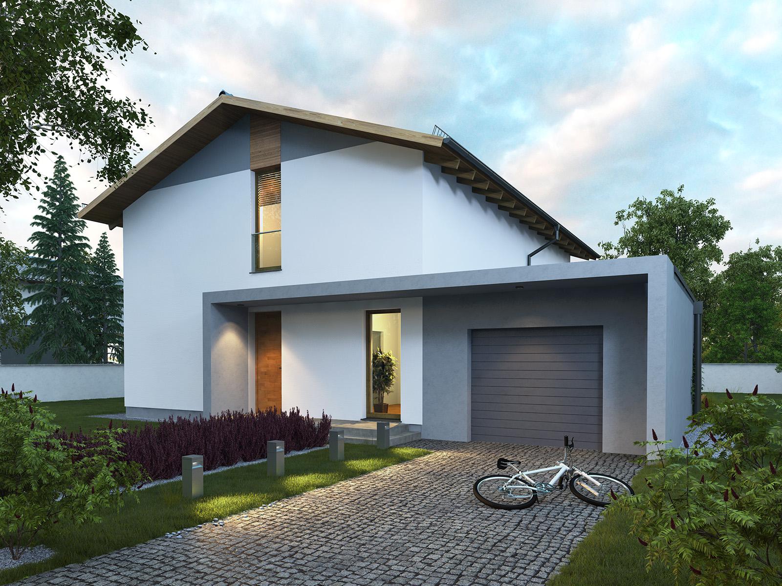 Projekt domu PROSTY Domy Czystej Energii widok od frontu