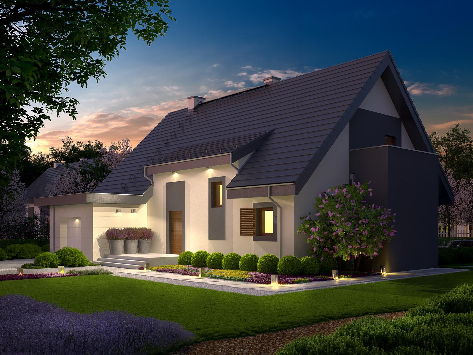 Projekt domu PANORAMA Domy Czystej Energii widok od frontu