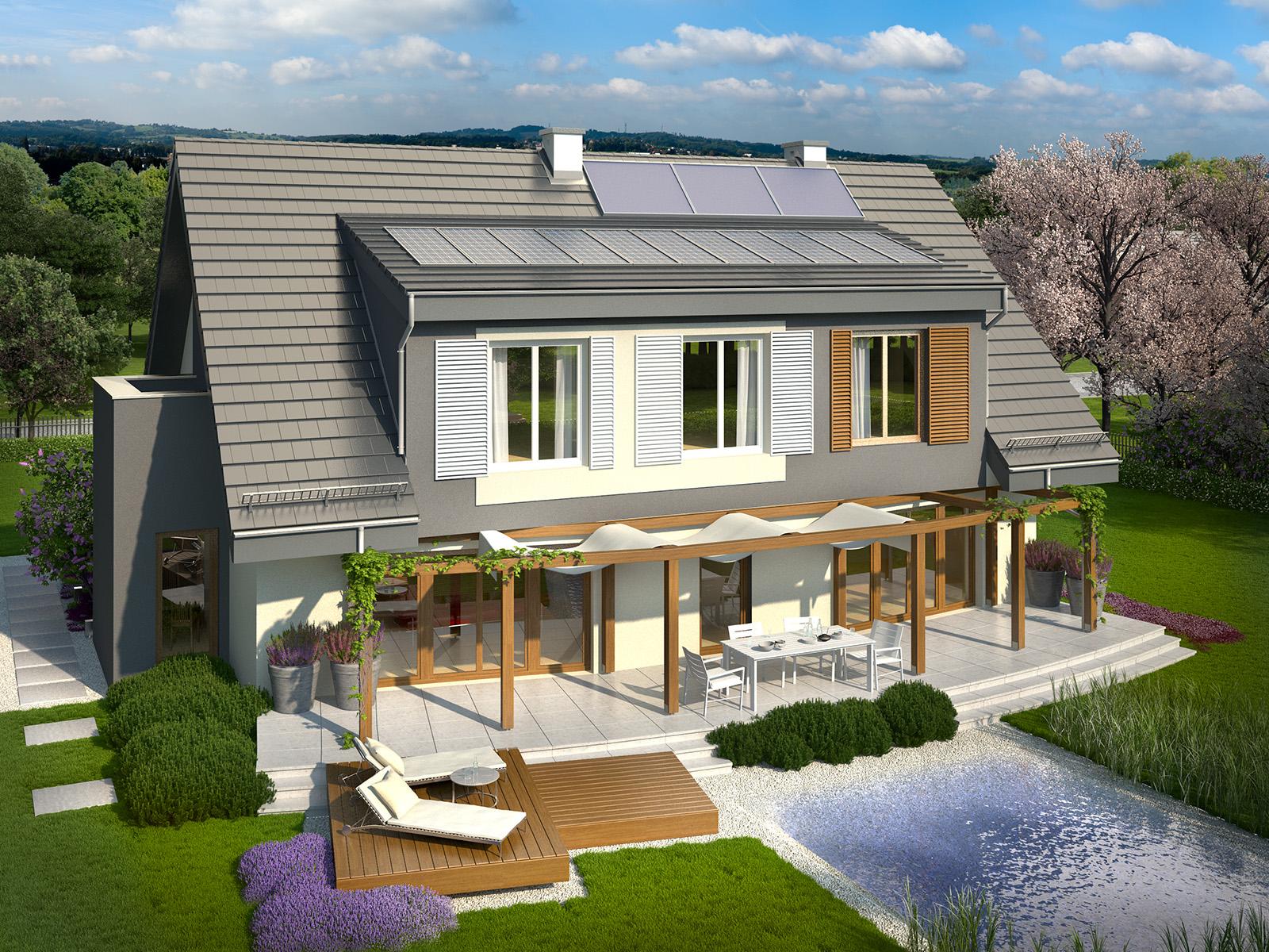 Projekt domu PANORAMA Domy Czystej Energii widok od ogrodu