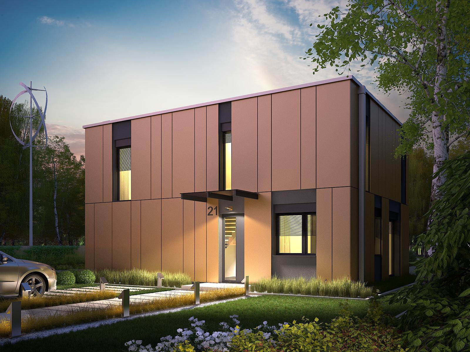 Projekt domu PROSTOKĄTNY Domy Czystej Energii widok od frontu