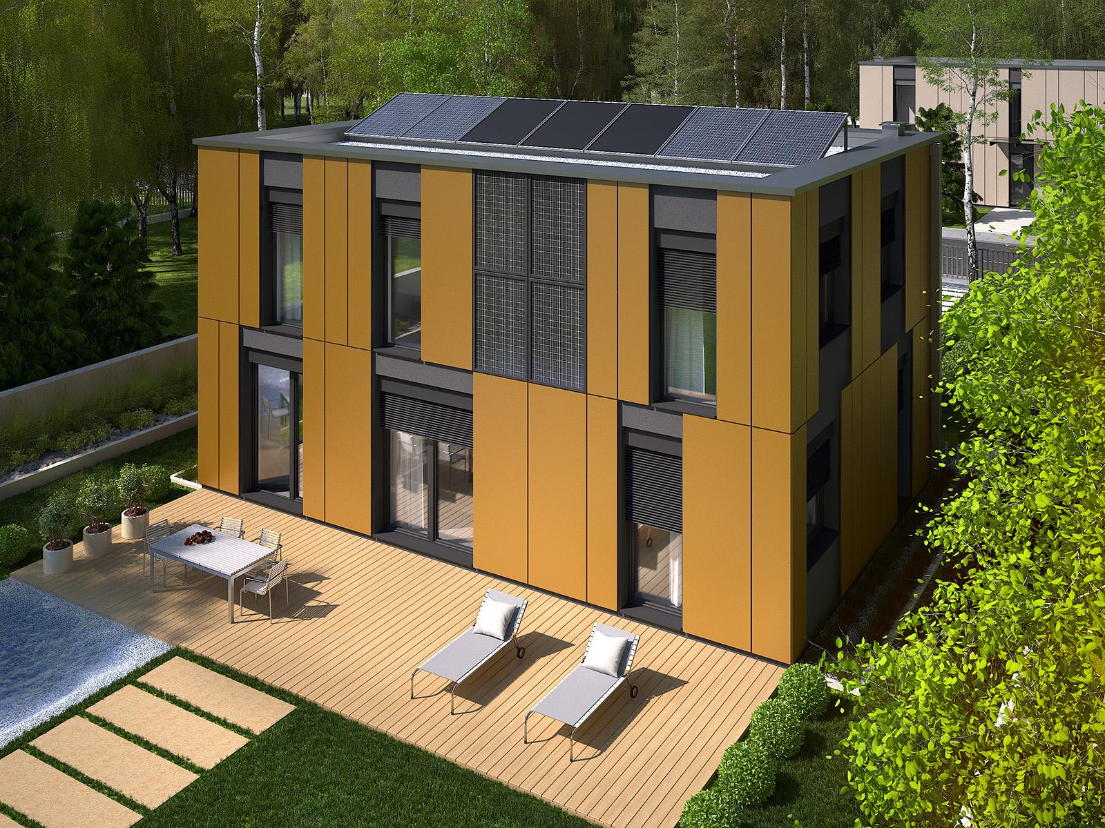 Projekt domu PROSTOKĄTNY Domy Czystej Energii widok od ogrodu