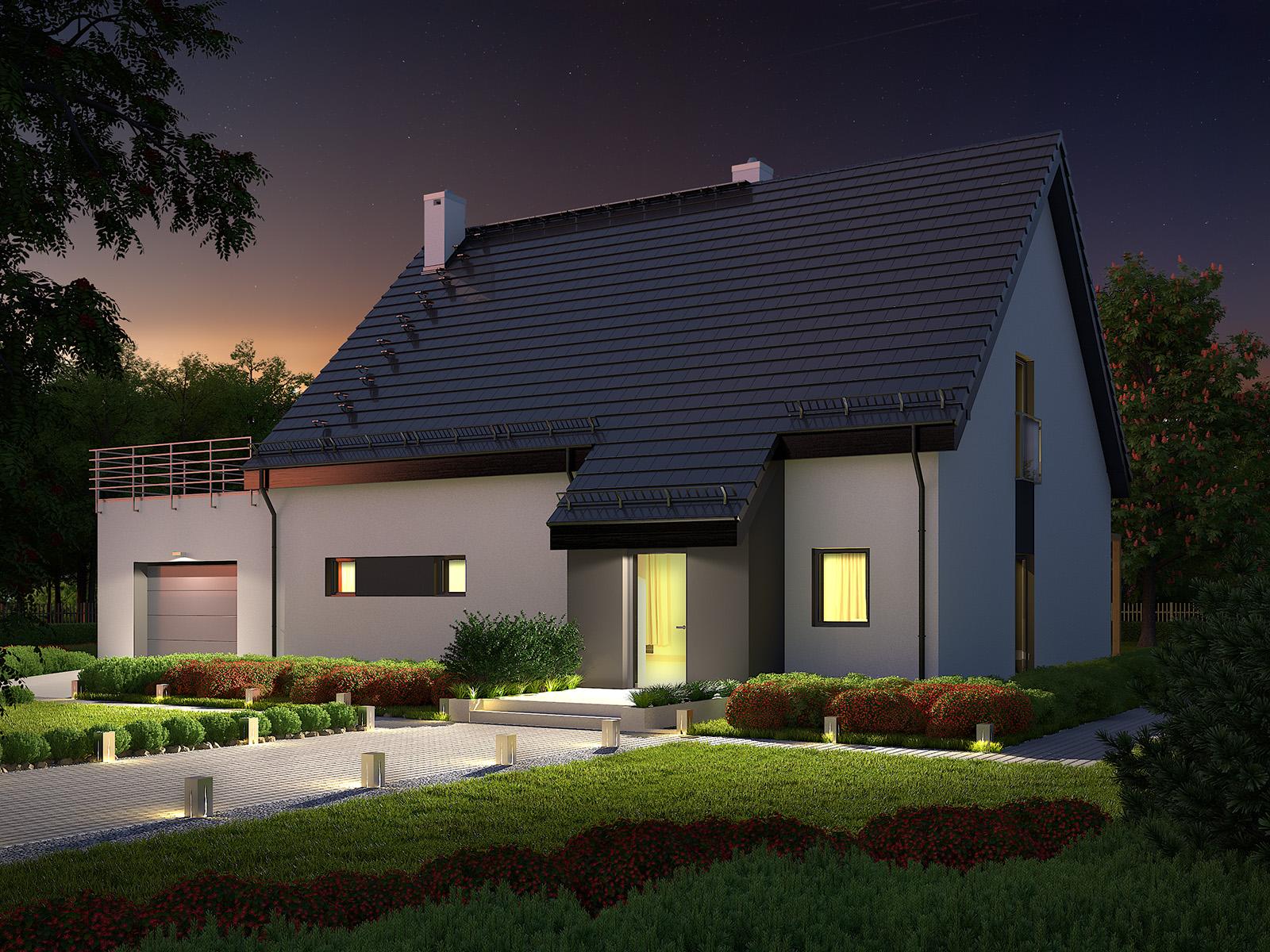 Projekt domu RYTM Domy Czystej Energii widok od frontu