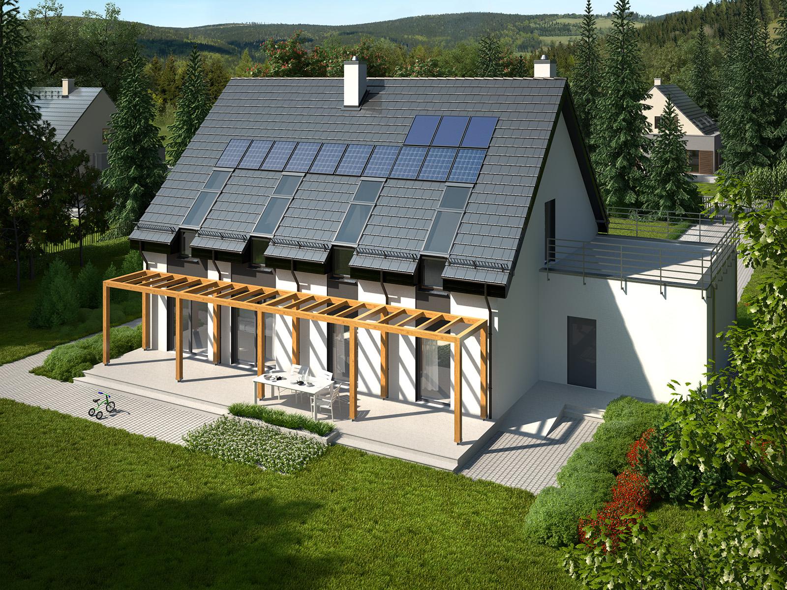 Projekt domu RYTM Domy Czystej Energii widok od ogrodu z pergolą