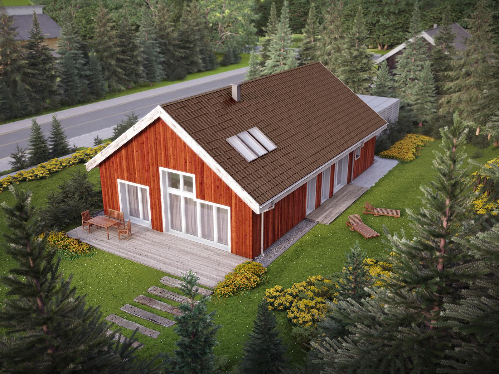 Projekt domu SKANDYNAWSKI Domy Czystej Energii widok od ogrodu i od boku