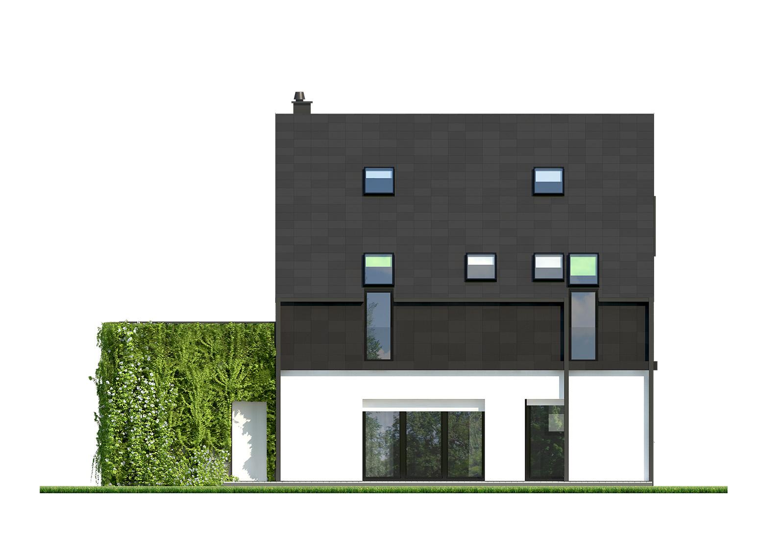 Projekt domu ELEGANCKI Domy Czystej Energii elewacja tylna