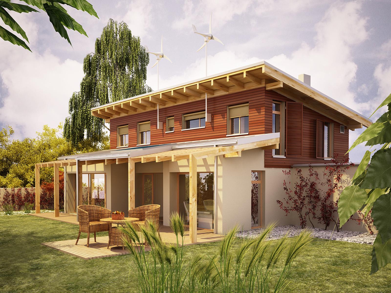 Projekt domu SOLARNY Domy Czystej Energii widok od ogrodu