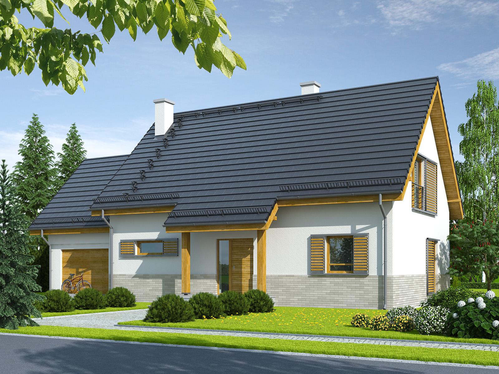 Projekt domu TRADYCYJNY Domy Czystej Energii widok od frontu