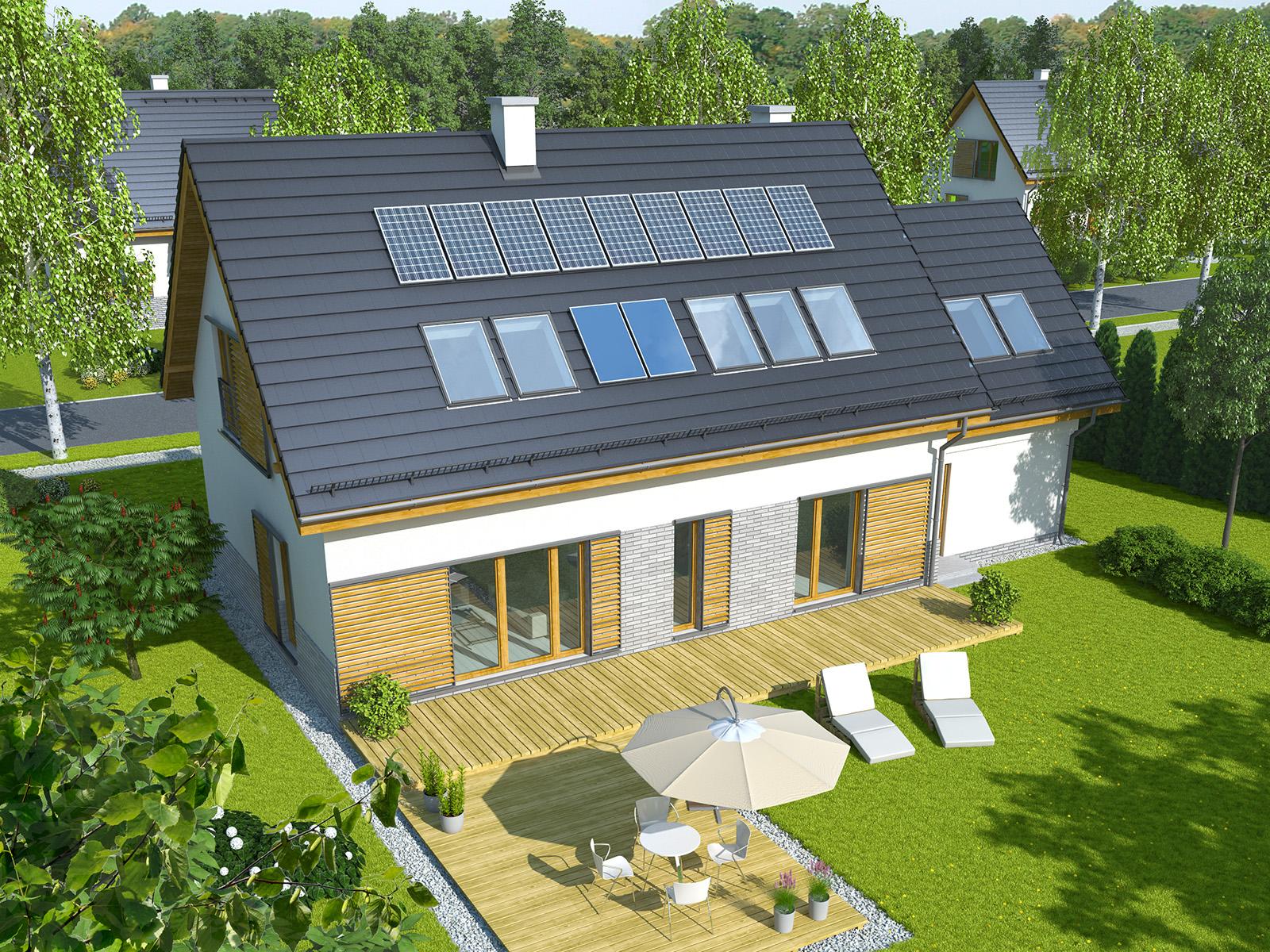 Projekt domu TRADYCYJNY Domy Czystej Energii widok od ogrodu
