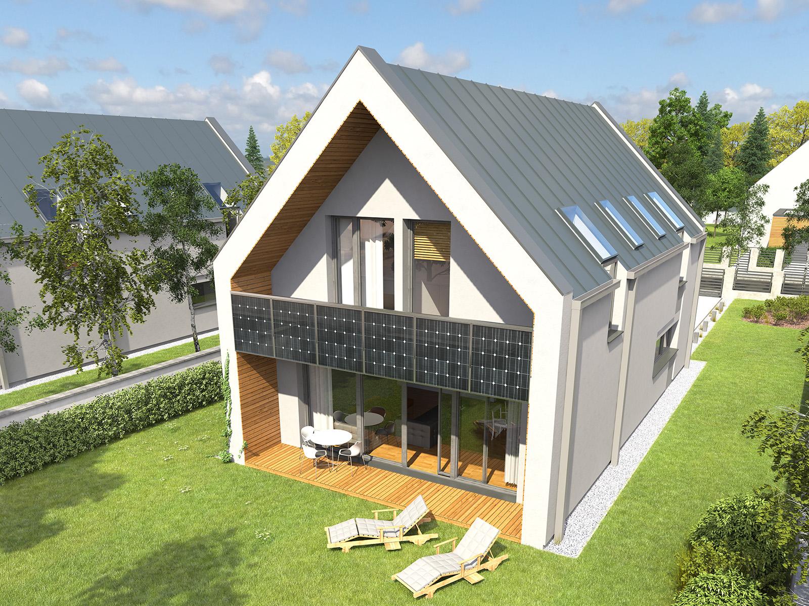 Projekt domu UKRYTY Domy Czystej Energii widok od ogrodu