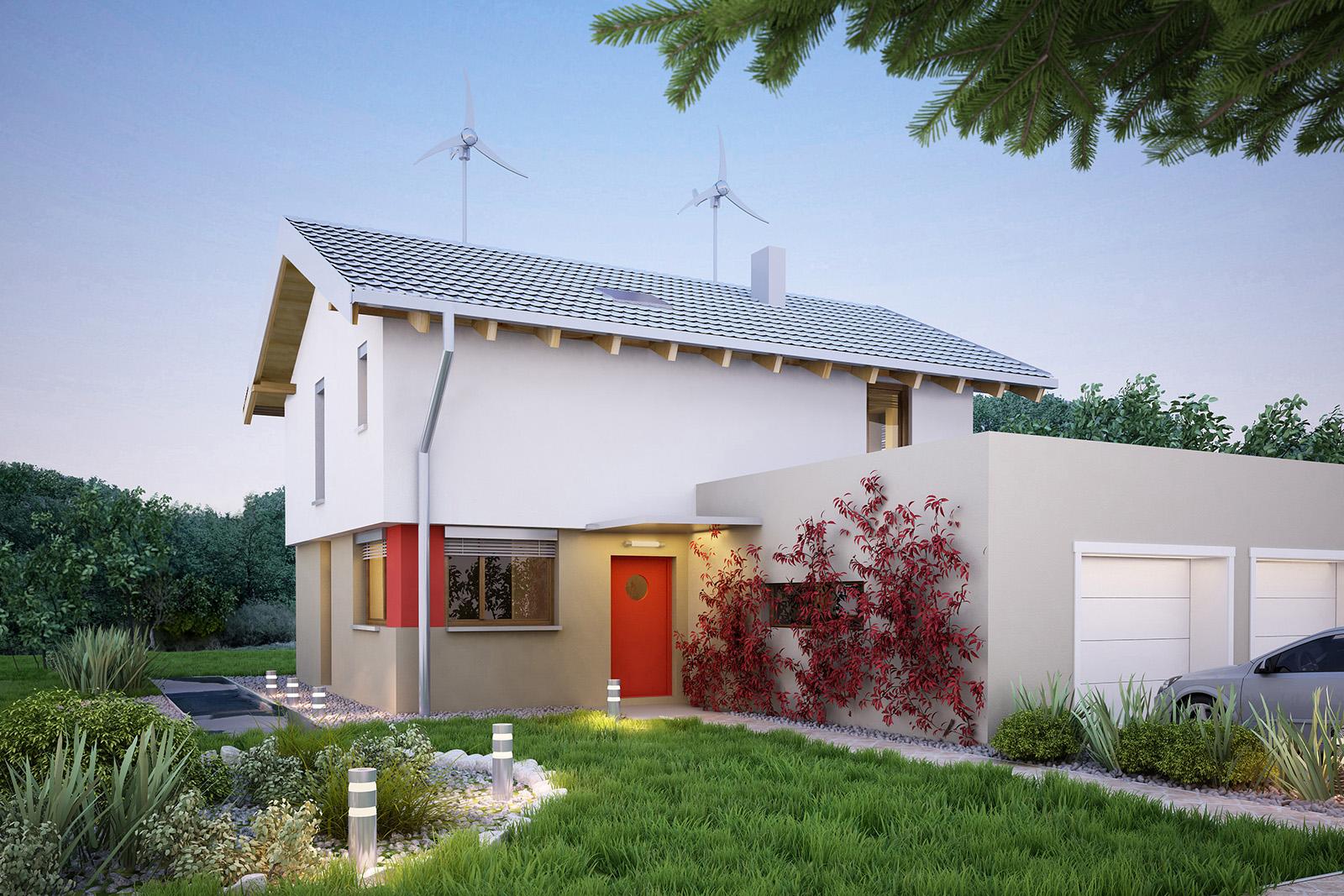 Projekt domu UNIWERSALNY Domy Czystej Energii widok od frontu
