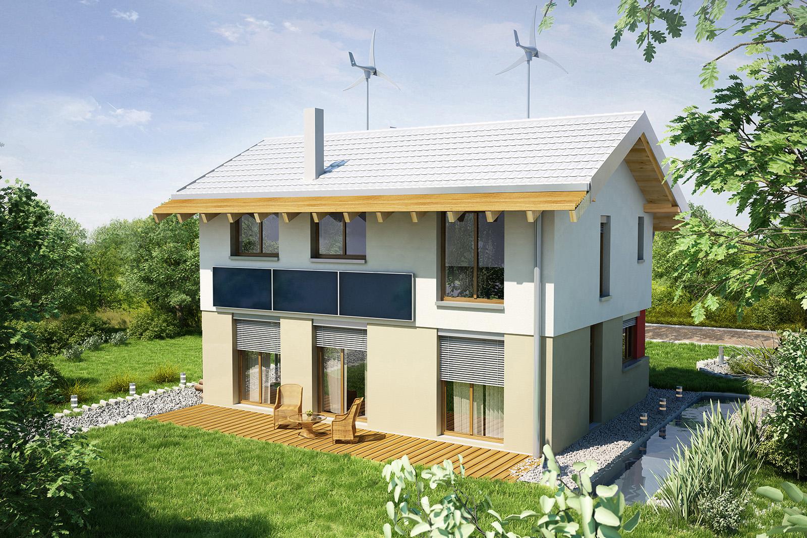 Projekt domu UNIWERSALNY Domy Czystej Energii widok od ogrodu
