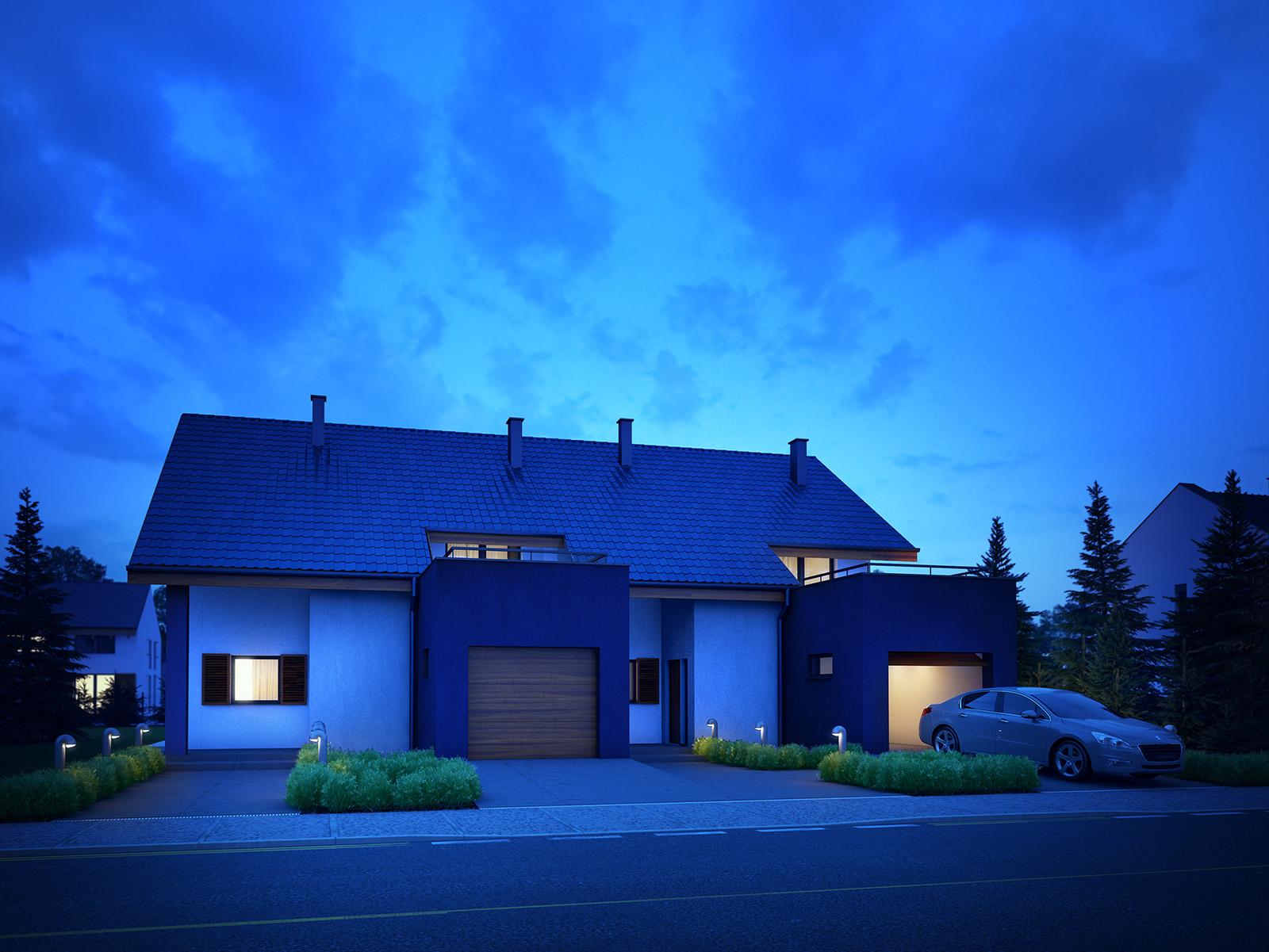 Projekt domu TWIN ECONOMIC A Domy Czystej Energii widok od frontu