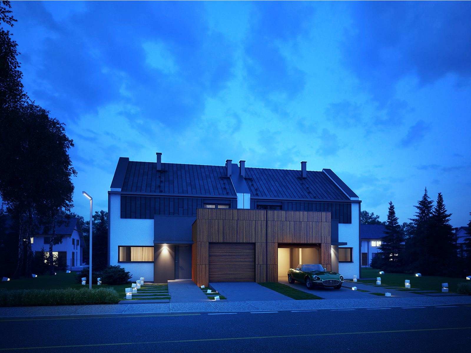 Projekt domu TWIN MODERN A Domy Czystej Energii widok od frontu