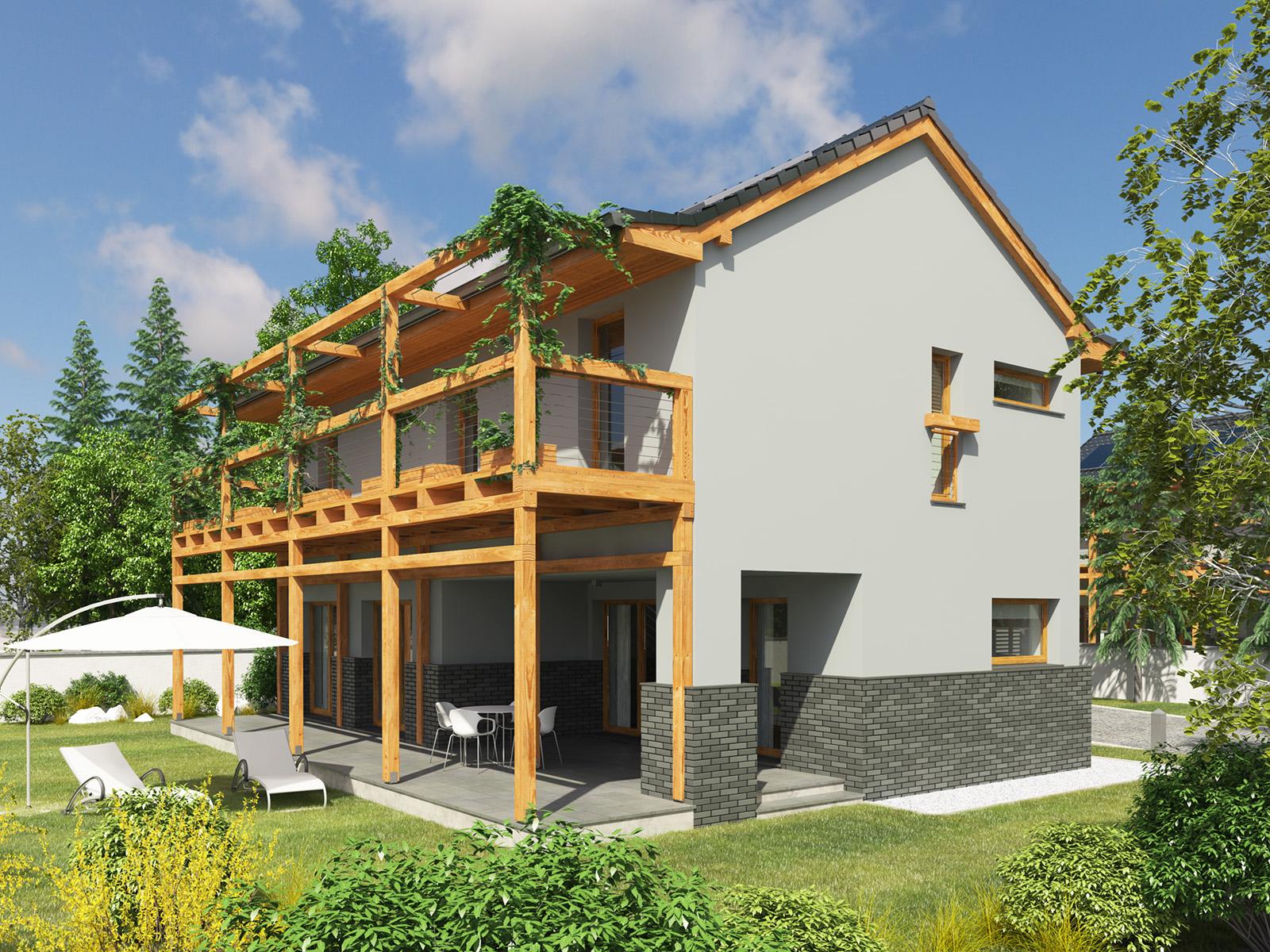 Projekt domu BALKONOWY Domy Czystej Energii widok od ogrodu i z boku
