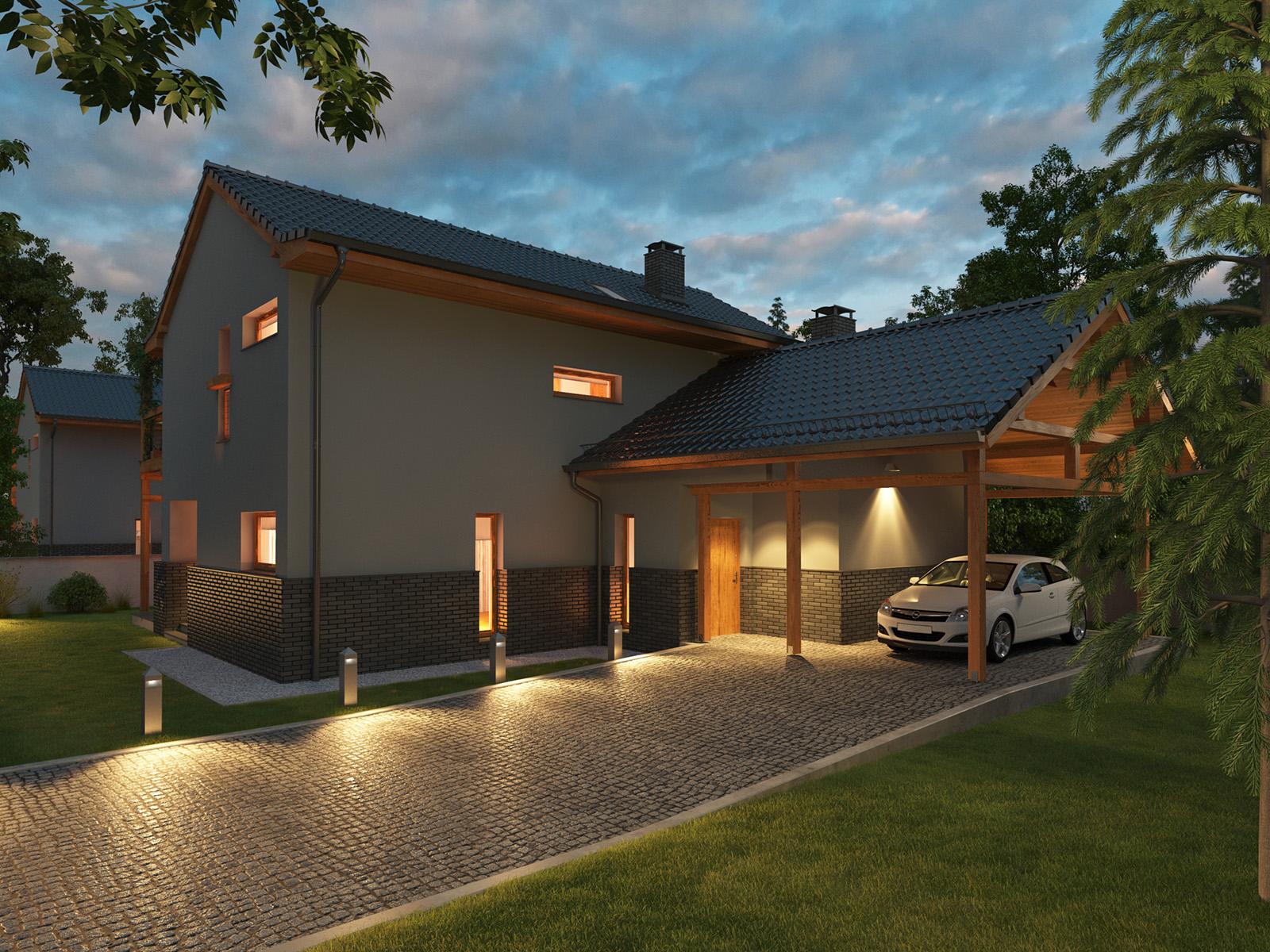 Projekt domu BALKONOWY Domy Czystej Energii widok od frontu