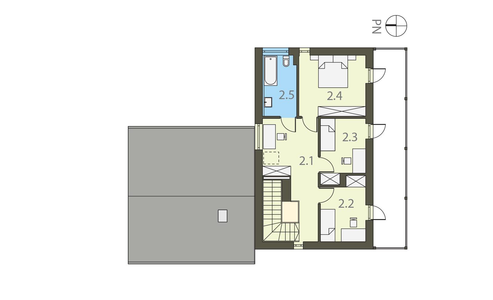 Projekt domu BALKONOWY Domy Czystej Energii rzut piętra