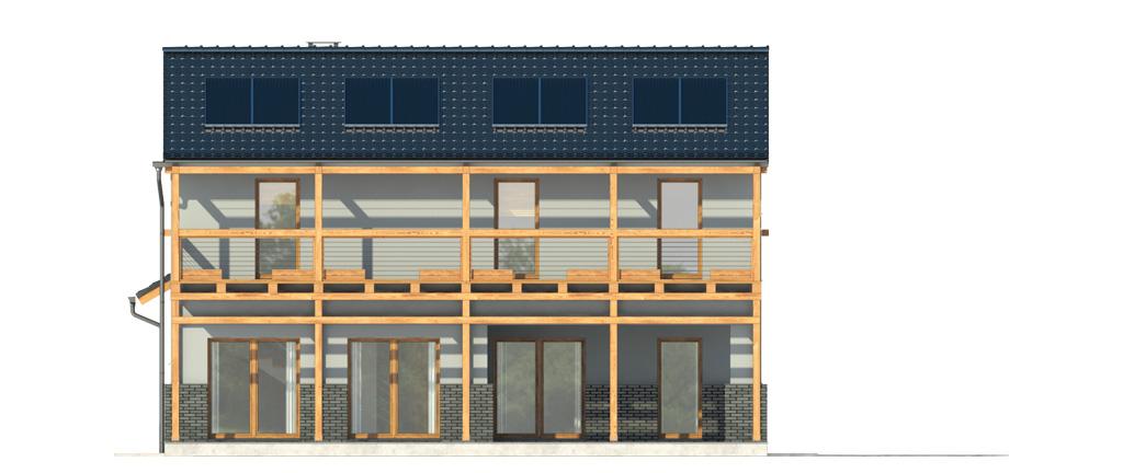 Projekt domu BALKONOWY Domy Czystej Energii elewacja tylna