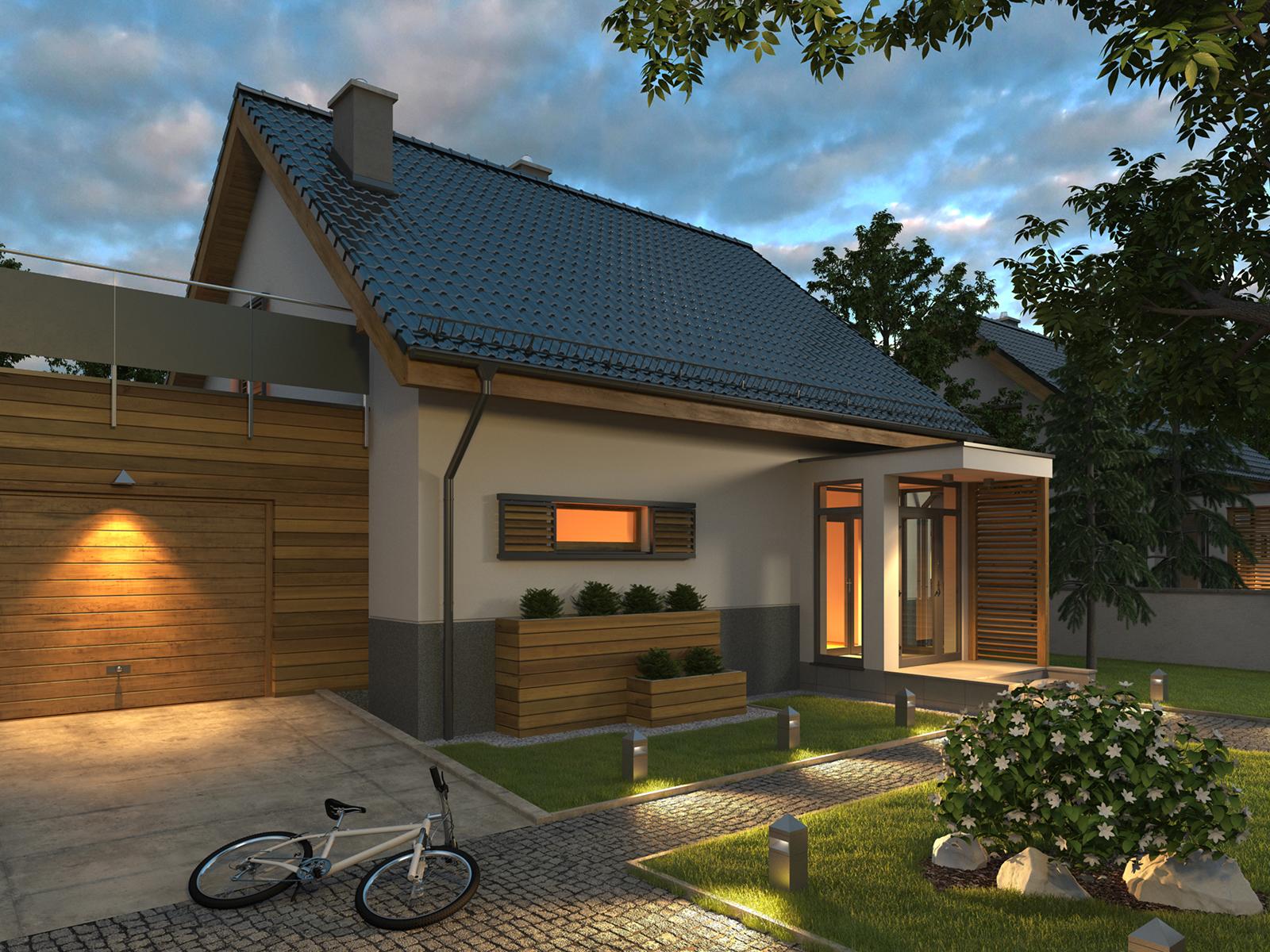 Projekt domu CIEPŁY Domy Czystej Energii widok od frontu