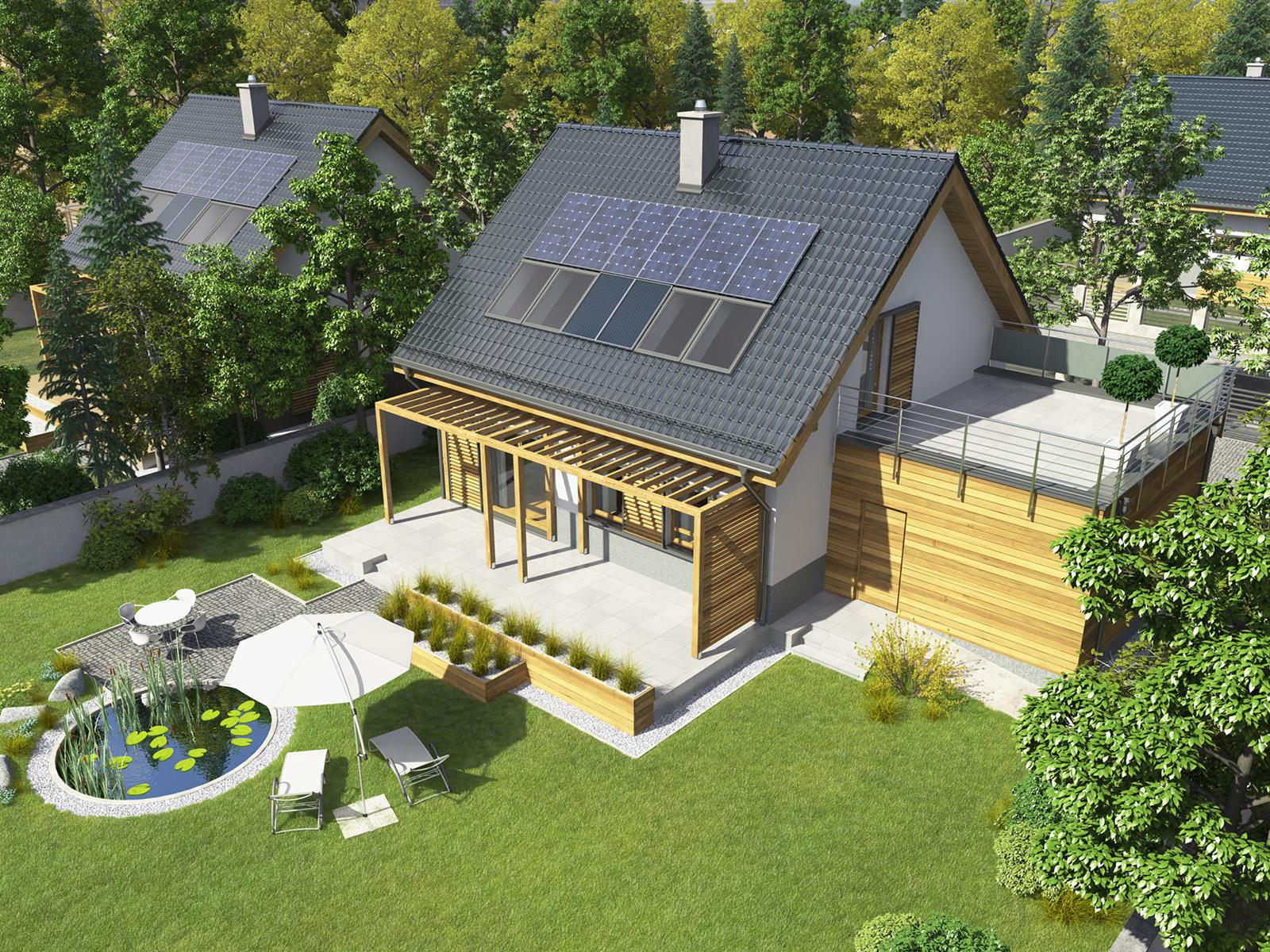 Projekt domu CIEPŁY Domy Czystej Energii widok od ogrodu