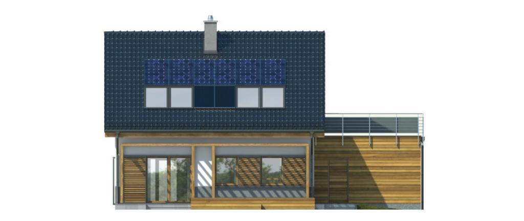 Projekt domu CIEPŁY Domy Czystej Energii elewacja tylna