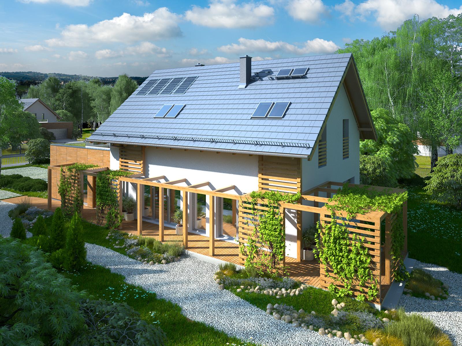 Projekt domu CZWÓRKA Domy Czystej Energii widok od frontu