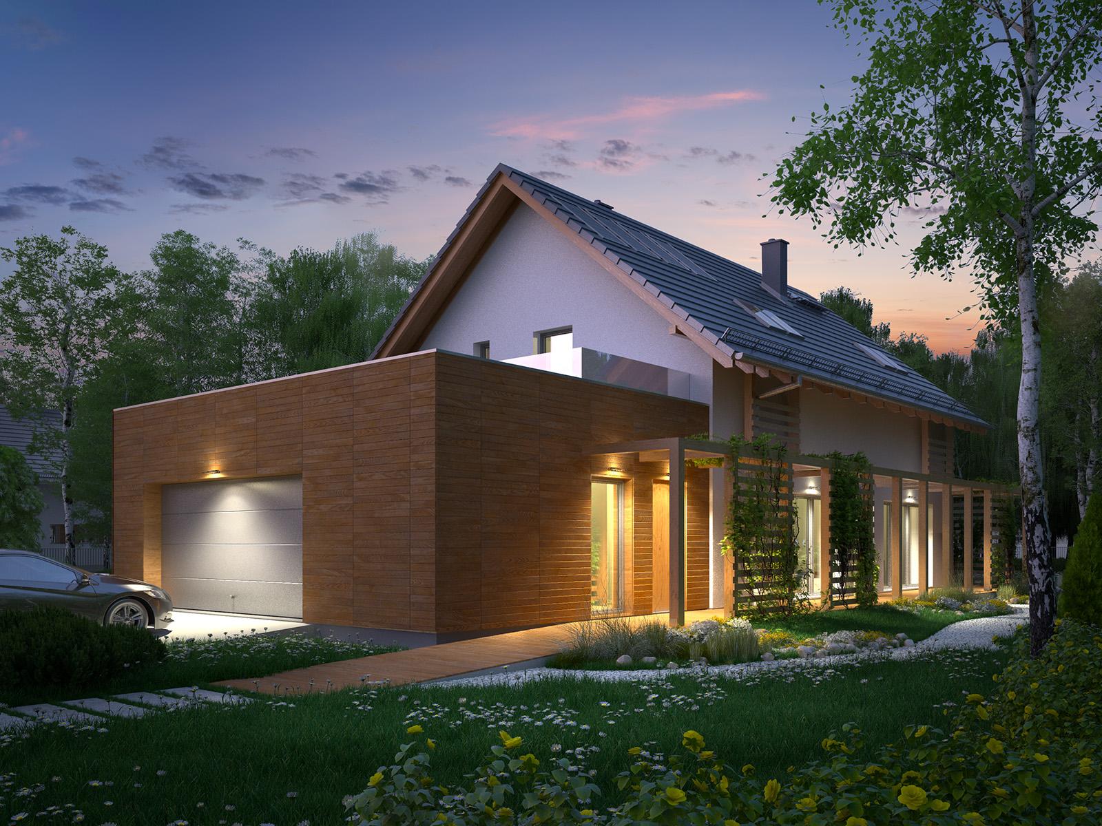 Projekt domu CZWÓRKA Domy Czystej Energii wizualizacja frontowa i boczna