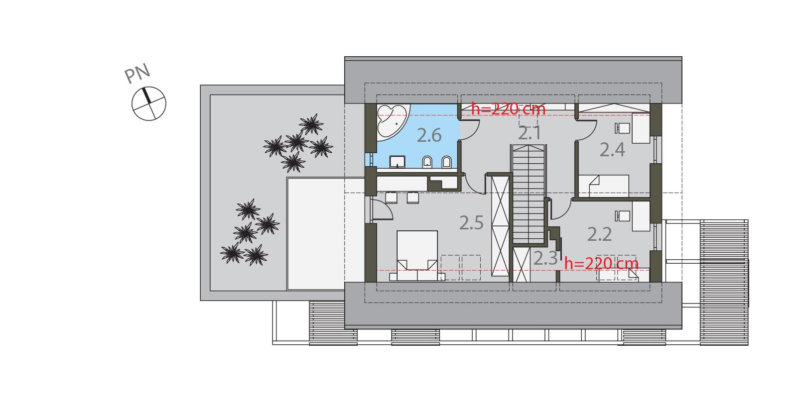 Projekt domu CZWÓRKA Domy Czystej Energii rzut piętra