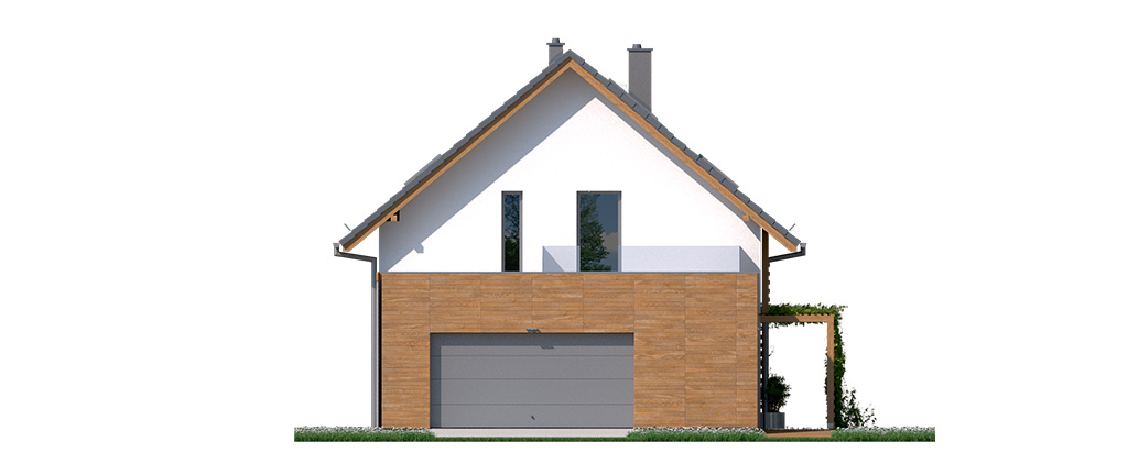 Projekt domu CZWÓRKA Domy Czystej Energii elewacja boczna
