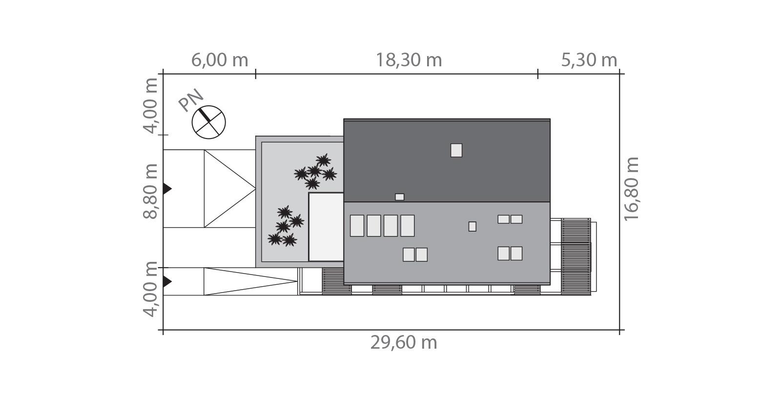 Projekt domu CZWÓRKA Domy Czystej Energii rzut działki