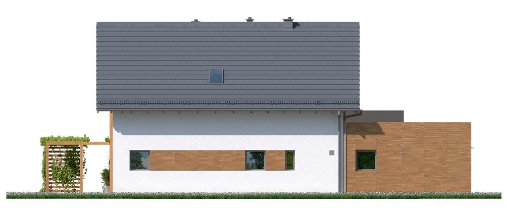 Projekt domu CZWÓRKA Domy Czystej Energii elewacja tylna