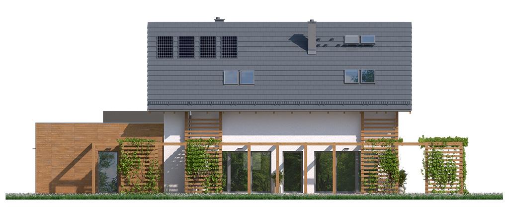 Projekt domu CZWÓRKA Domy Czystej Energii elewacja frontowa