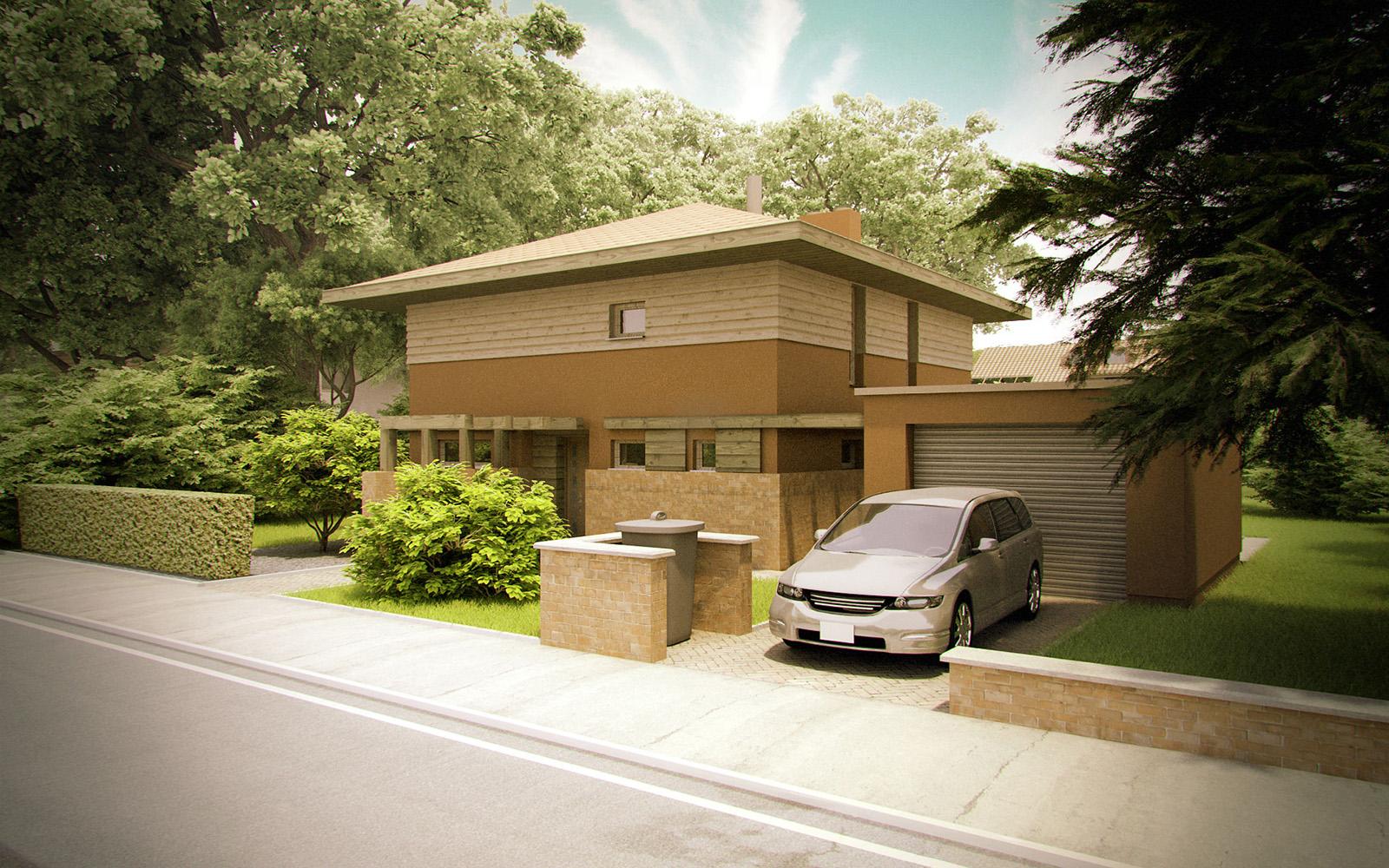 Projekt domu KWADRAT Domy Czystej Energii widok od frontu