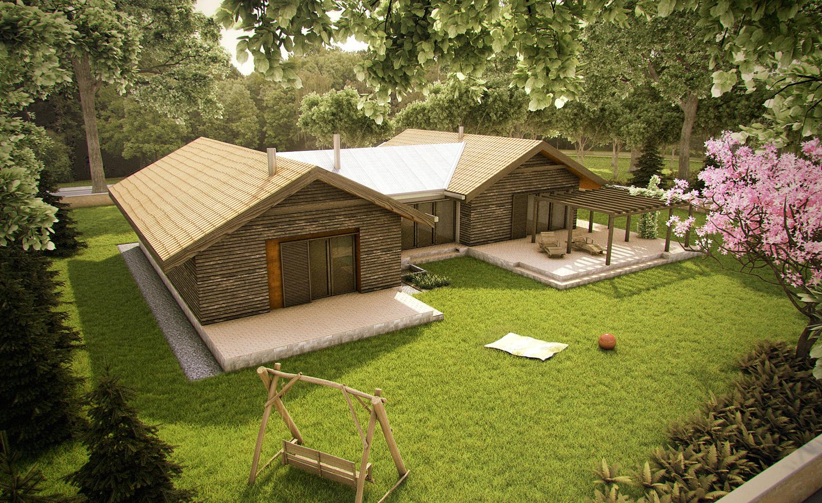Projekt domu TARASOWY Domy Czystej Energii widok od ogrodu