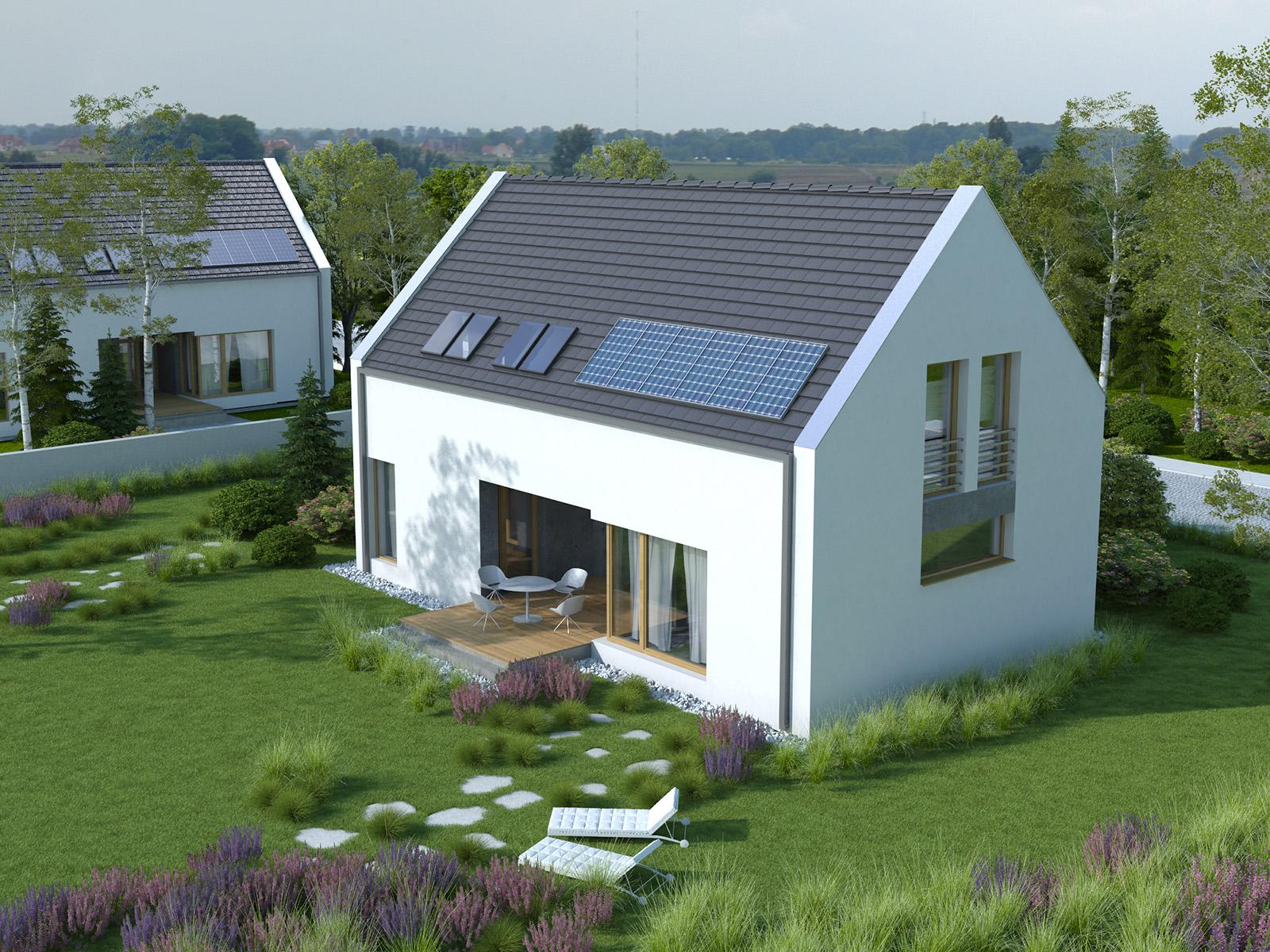Projekt domu Z WNĘKĄ Domy Czystej Energii widok od ogrodu