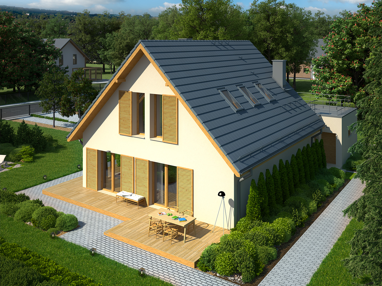 Projekt domu EKORODZINNY Domy Czystej Energii widok z boku i od ogrodu