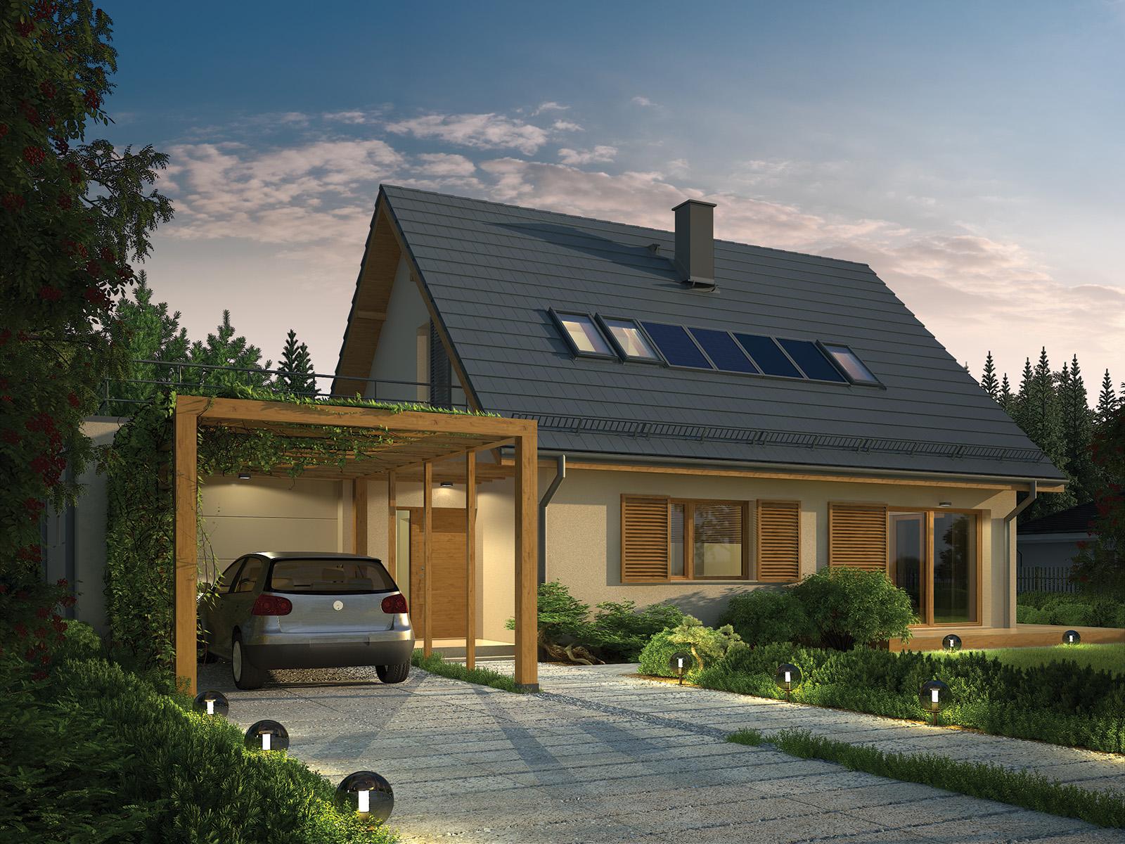 Projekt domu EKORODZINNY Domy Czystej Energii widok od frontu