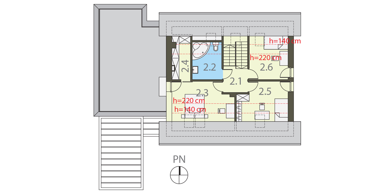 Projekt domu EKORODZINNY Domy Czystej Energii rzut piętra