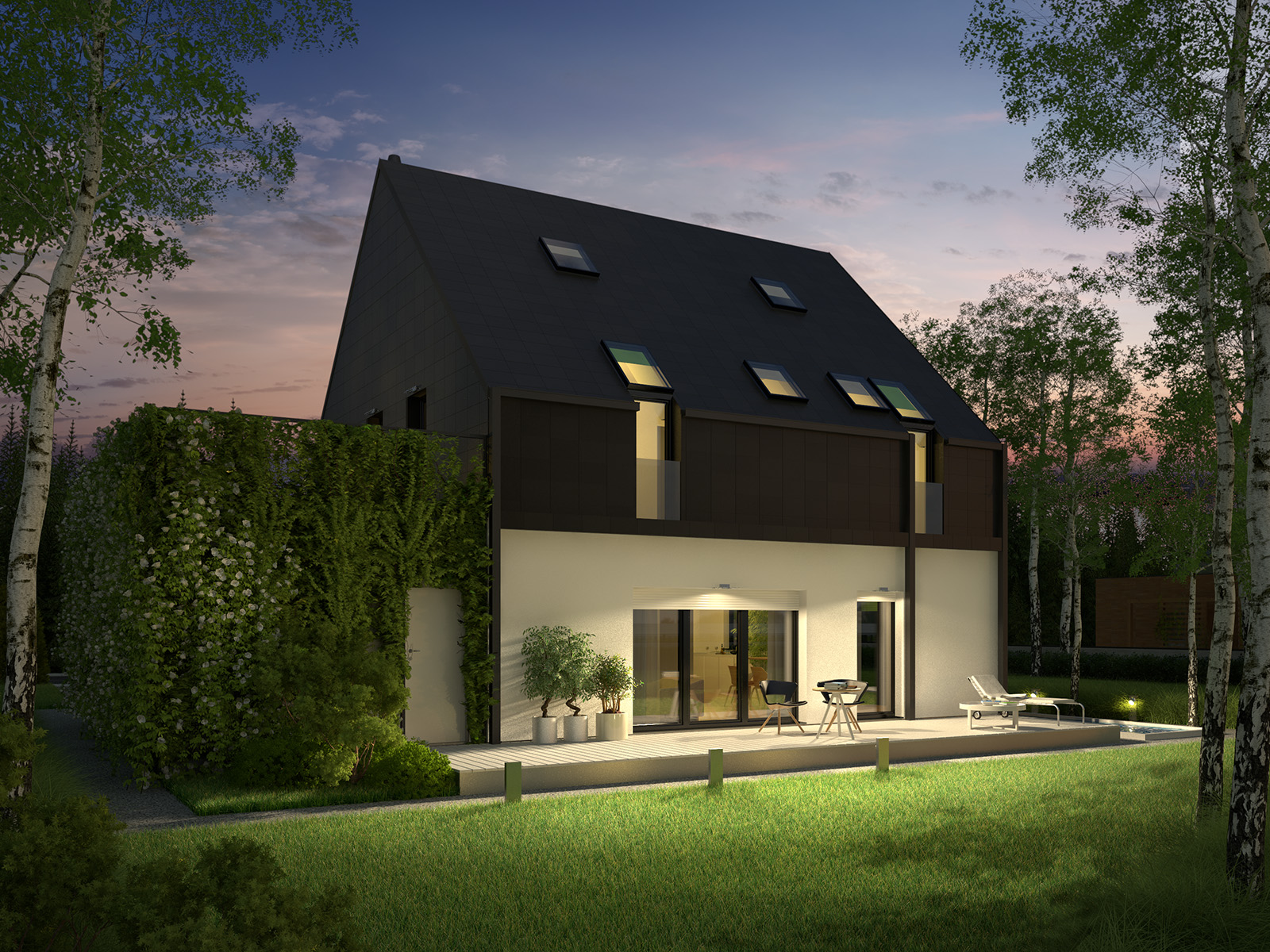 Projekt domu ELEGANCKI Domy Czystej Energii widok od ogrodu