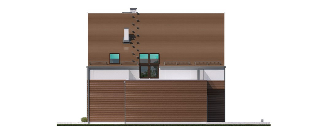 Projekt domu 2 PLUS 1 Domy Czystej Energii elewacja boczna