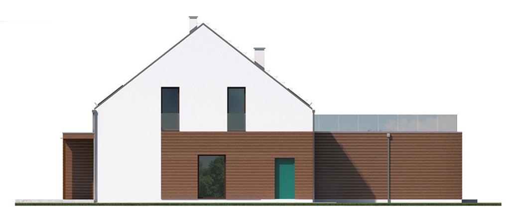 Projekt domu 2 PLUS 1 Domy Czystej Energii elewacja tylna