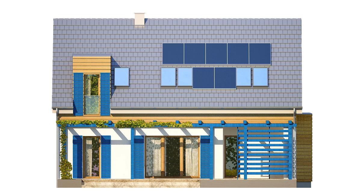 Projekt domu EL-KA Domy Czystej Energii elewacja tylna